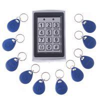 al por mayor rfid clave cerraduras de las puertas-Teclado de entrada RFID Cerradura de puerta de metal Sistema de control de acceso de proximidad de seguridad + 10 llaveros H4391
