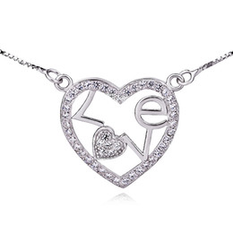Wholesale GNX0303 B Real Sterling Silver Necklace Fashion Jewelry Christmas Gift Full CZ LOVE Pendant Necklace for Women