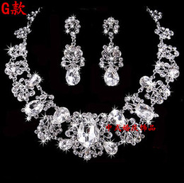 Wholesale Bridal necklace earring Crystal Wedding Bridesmaids Clear Rhinestone Necklace Earrings Jewelry Set Prom Bridal Accessories2015