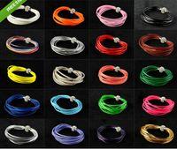 leather cuff bracelet - Multilayer Leather Wrap Bracelet Shambhala Wristband Cuff Punk Magnetic Buckle Rhinestone Beaded Cord Charm Bracelets Bangle