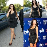 Reference Images V-Neck Elastic Satin 2014 hot Kim Kardashian Black V-neck Feathers Satin Sheath Celebrity Dresses Elegant Formal Short Evening Dresses Layered Cocktail Gown Top