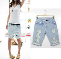 Women Cargo Pants Loose Hot!!!2013 all-match hole pocket denim jeans short Ripped loose jean pants high quality In stock Freeshipping