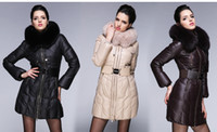 2014 Winter Fur collar Woman double zipper Large sizes Long ...