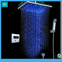 "8"" shower heads - Auto Thermostat Control Shower Set SUS Auto Digital Thermostat Control Ultra thin quot Shower Head Set"
