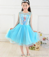Wholesale 2014 Summer frozen Girls dress Frozen Elsa Princess dress girl lace elsa dress Cartoon Tutu Dress frozen dress beautiful baby girl dresses