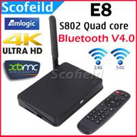 Wholesale E8 Amlogic S802 Quad Core GHz Android TV Box Mini TV Set Top Box G G G Dula WIFI Support K Bluetooth Android