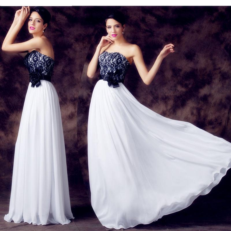 Vintage Long Black And White Lace Evening Dresses Empire Strapless ...