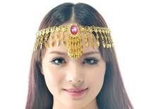 Other Bohemian Women's 50pcs lot Tribal Belly dance costume Jewelry Headpiece Tire Crystal Diamond Loop Tassel Necklace ta015