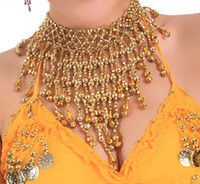 belly dance bells - gold Silver Handmade Belly Dance Tribal Necklace with BELLS beads Elastic T030