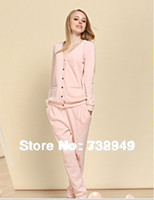 Nightgowns & Sleepshirts Acrylic Solid Free shipping New 2014 Warm Sexy Sleepwear Cotton Cute Cardigan Winter Spring Pijama Clothing Sets Plus Size Pajamas For Women