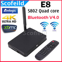 Wholesale E8 Amlogic S802 Quad Core GHz Android TV Box Mini TV Set Top Box G ROM G ROM G Dula WIFI Support K Bluetooth Android