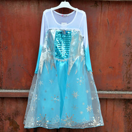 Wholesale Summer style girl party dress fantasia frozen fever lace princess costume baby girls elsa dress kids clothes children clothing Cheap