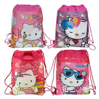 Wholesale 4Pcs Hello Kitty Children Cartoon Bag Drawstring Kids Backpack Tote bag Mochilas School Kids Children School Bags Party Gifts