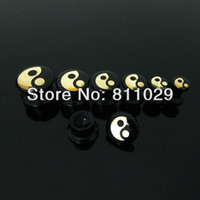 acrylic plaques - New Hot body jewelry mixed ear expander Tai Chi gold plaque logo acrylic internally thread Flesh Tunnel