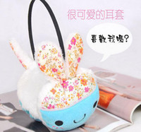 Wholesale Cute Smile Cartoon Rabbit Earmuffs Earwarmers Ear Muffs Earlap Warm Headband