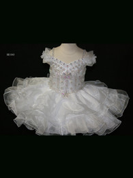 Wholesale Lovely Little Rosie Babies Pageant Dress Off Shoulder Organza Cupcake Girls Pageant Dress