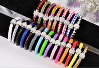 Wholesale Weaving PU Leather Wrap Bracelet Shambhala Wristband Cuff Punk Magnetic Buckle Rhinestone Beaded Cord Chain Charm Bracelets Bangle jewelry