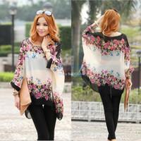 Chiffon New SV000785# New Arrival! New 2014 Spring Bohemian Style Women Oversized Dolman Sleeve Floral Chiffon Shirt Tops Blouse L XL SV000785 A4