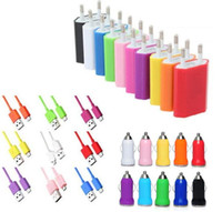Wholesale 100pcs EU US Travel Adapter Wall Chargers Micro USB Cable Car Charger in Kit for Samsung Galaxy S3 S4 S5 Note2 Phone LS