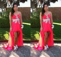 Wholesale Beaded Sweetheart Sleeveless High Low Prom Dress Cheap Vestidos De Fiesta Chiffon Summer A Line Lace Up Back China Evening Formals Gowns