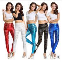 Faux Leather Mid Fashion 5 styles 2014 new women's fashion Fish Scale Printed leggings Sexy Trendy Pants Cotton Skinny Pants leggings female trouser c439 50pcs