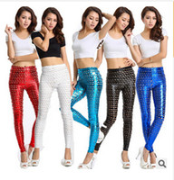 Faux Leather Mid Fashion 5 styles 2014 new women's fashion Fish Scale Printed leggings Sexy Trendy Pants Cotton Skinny Pants leggings female trouser c439 100pcs