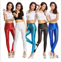 Faux Leather Mid Fashion 5 styles 2014 new women's fashion Fish Scale Printed leggings Sexy Trendy Pants Cotton Skinny Pants leggings female trouser c439 500pcs