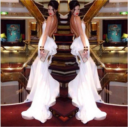 Wholesale Spaghetti backless Mermaid Sexy Evening dresses Sweep train Fashion Best selling Celebrity dress Custom made Pageant dress New arrival