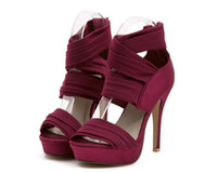 Wholesale Summer Hot Celebrity Strappy Women Ankle Strap Shoes High Stiletto Heel Pumps Party Club Pleated Sandal hg90422