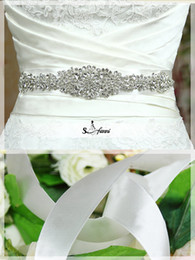 Wholesale Clear Beaded Sash - 2015 New Arrival Cheap High Quality Shiny White Satin Clear Crystals Heavy Beaded Detachable Wedding Sash Wedding Belt Wedding Accessories