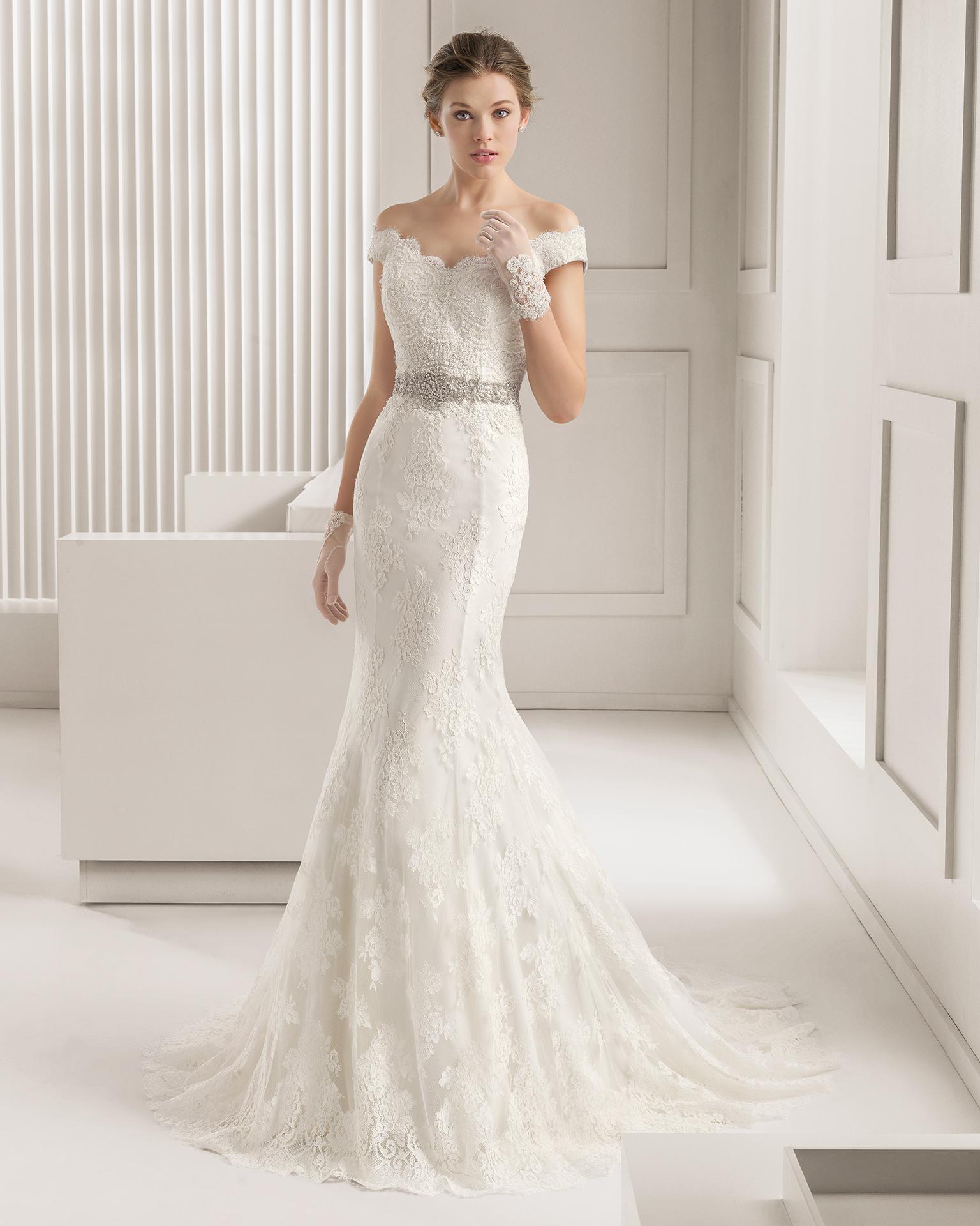 2015 Vintage Lace Mermaid Wedding Dresses f Shoulder