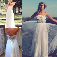 A-Line Reference Images Strapless Bohemian Strapless Long Tulle Floor Length A-line Boho Summer Beach Bridal Dresses Gowns with Flowers 2015 Lace Sexy Backless Wedding Dress