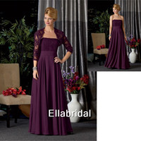 Reference Images Strapless Chiffon Charming Sexy Empire Grape Chiffon Mother Dresses With 3 4 Long Sleeve Jacket Appliques Strapless High Quality New Style 7020