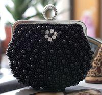 Top Handle Bags leather purse handles - High QUality New Hand Beaded Evening Bag Pearls Mini Women Handbags Bridal Clutch Purse Wedding Party Bridals Bag Chain Sac a Main Ne