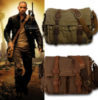 leather canvas laptop bag - I Am Legend Will Smith Men Messenger Bags Military Army Vintage Canvas Genuine Leather Cross Body Bags Laptop Satchel Bag
