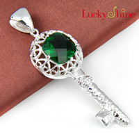 Asian & East Indian asian dating - Luckyshine up to date piece Christmas silver plated Shape keys green and Swiss Blue Topaz crystal pendant for lady P389