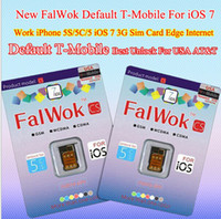 Wholesale FalWok CS Default T Mobile Unlock sim card for iPhone S C Only Unlock USA T Mobile Carrier use G sim card work DGE Internet Free Ship