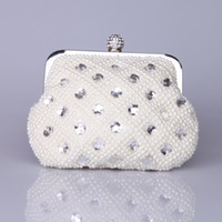 Wholesale Bridal Clutches Wedding Clutch Bridal Hand Bags with Chain Cream Evening Purse with Pearls Vintage Styles Personalized Bridesmaid Bags