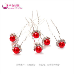 6PC Wedding Bridal Pearl & Red Crystal Flower Hair Pins Hair Accessory New Arrive