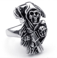 Celtic band son - Gothic Super Quality Men s Sons Anarchy Sickle Skull Finger Rings in L Stainless Steel Unique Punk Biker Jewelry for Man US size to