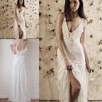 Sheath/Column Reference Images Scoop New Design Stunning Boho Beach Wedding Dresses Scoop Neck Sleeveless Spaghetti Straps Floor Length Sexy Backless Top Lace Chiffon Bride Gown