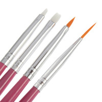 nail art pen - New Pink Nail Brush set Professional Nail Art Brush Set Design Painting Pen Perfect Tools Dotting Pen Nail Art Salon Tools sets