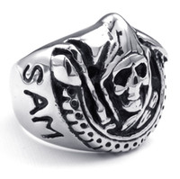 Wholesale Hot Punk Fashion L Stainless Steel Rock SAM CRO Pirate Skull Charming Finger Ring Top Quality in Size for er Motorcycle Bikers