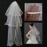 Wholesale Beauty White Chapel Mantilla Bridal Dress Wedding Veil Ribbed Edge Layers Free Drop Shipping Free In Stock