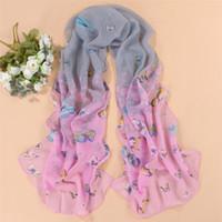 Wholesale 8 Colors Women Fashion Chiffon Printed Scarves Shawl Women Autumn Spring Winter Popular Butterfly Silk Scarves Ladies Shawl