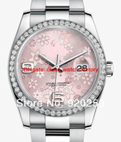 auto flowers - High quality Pink flower Crystal unisex new arrivel Automatic Mechanical Wrist Watch mm gift