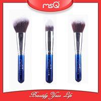 Wholesale MSQ sets Cosmetic Makeup Brush Set Blue Nylon Hair Powder Contour Brushes With PVC Bag