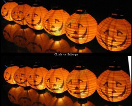 Wholesale 12 Halloween Pumpkin Spider Ghost Bats Paper Lantern Lamp outdoor Decoration light