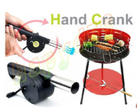 Wholesale free ship BBQ hand fan starter blower Barbecue grill fire cranked outdoor picnic camping BBQ Barbecue tool fan Blower hand crank