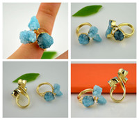 With Side Stones blue stone ring - Finding x Gold Plated Sky Blue Drusy Druzy Quartz Bezel Stone Ring Jewelry Gift
